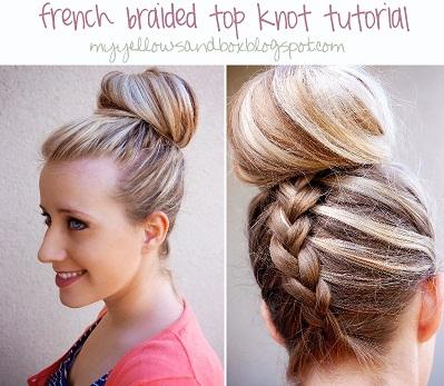 top knot con trenza