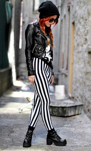 look rayas blanco y negro