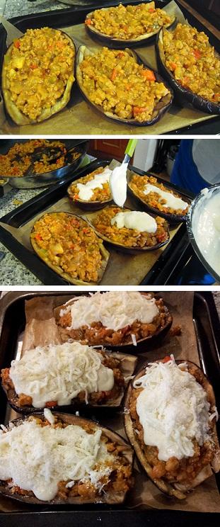 preparacion berenjenas rellenas de carne con bechamel